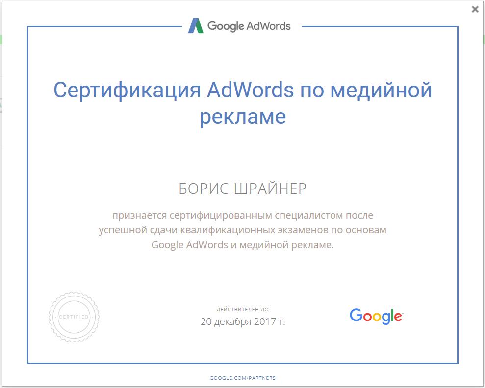 Борис Шрайнер: Сертификация AdWords по медийной рекламе (Google Partners)