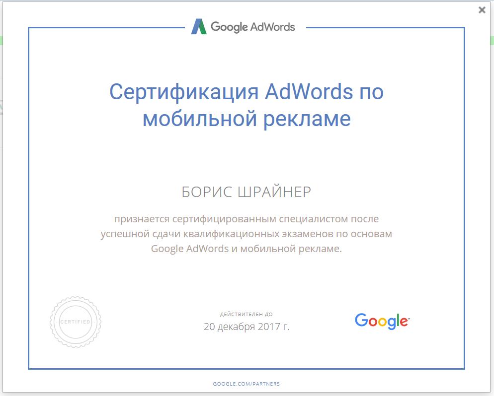 Борис Шрайнер: Сертификация AdWords по мобильной рекламе (Google Partners)