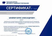 """Борис Шрайнер: Сертификат курса """"Новая грамотность"""" (ВШДА)"""
